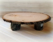 Cake Stand Platter Or Centerpiece Wood Tree Slice For Your Reception, Rustic Wedding Decor