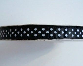 "3/8"" Grosgrain Ribbon Swiss Dots - Black with White Dots - 25 yard Spool"