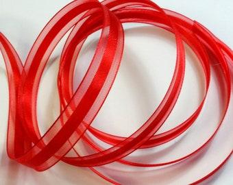 "1/2"" Satin Center Organza Ribbon - Red - 5 yards"