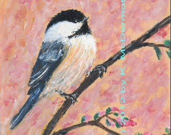 Pink Blossom Chickadees - Bird 1 - 5 X 7 Inch Detail Print  - Brushstroke Enhanced