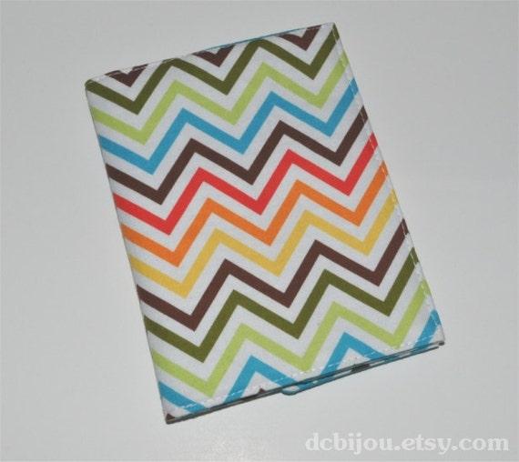 Ready to Ship - Fabric Passport Sleeve. Tropical Chevron Print. Turquoise Lining.