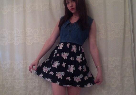 Floral and Denim Big Collar Dress