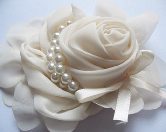 2pcs Chiffon Rose Flower Pearls Bow Headband-Ivory CH001-1