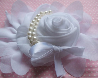 1pcs Chiffon Rose Flower Pearls Bow Headband-White CH001-1