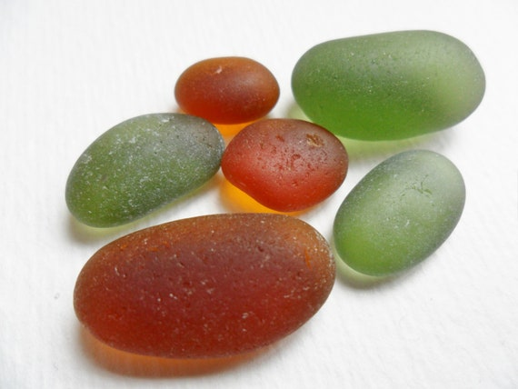 Warm autumn brown and pine forest green mix of  flawless sea glass - from england