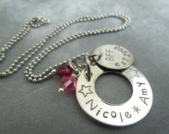 Personalized Bff star necklace hand stamped stainless steel
