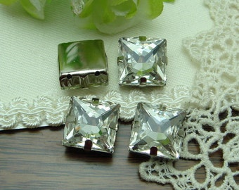 6 pcs Vintage Silver Plated  SquareBase Crystal Charms 14X14MM