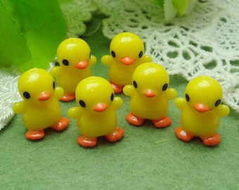 6 Pcs Lovely Yellow Duck Baby Cabochon 13x20mm- Hand Paint
