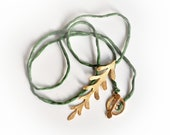 Sterling Silver Long Leaf Pendant in Green Silk Cord- Gold Plated- Ancient Greek Inspired Necklace-Feminine- Nature Inspired Necklace