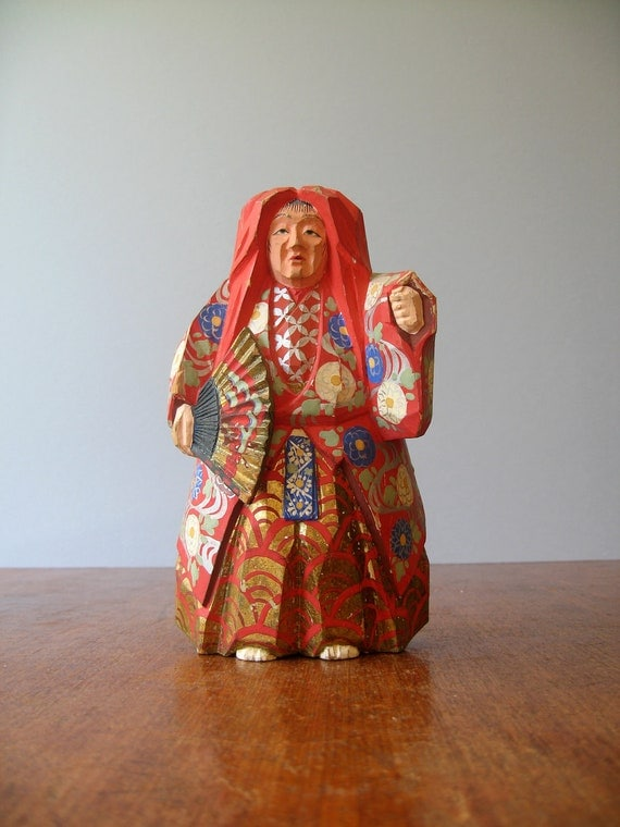 Vintage Lion Dancer Sculpture - Hand Carved Wood