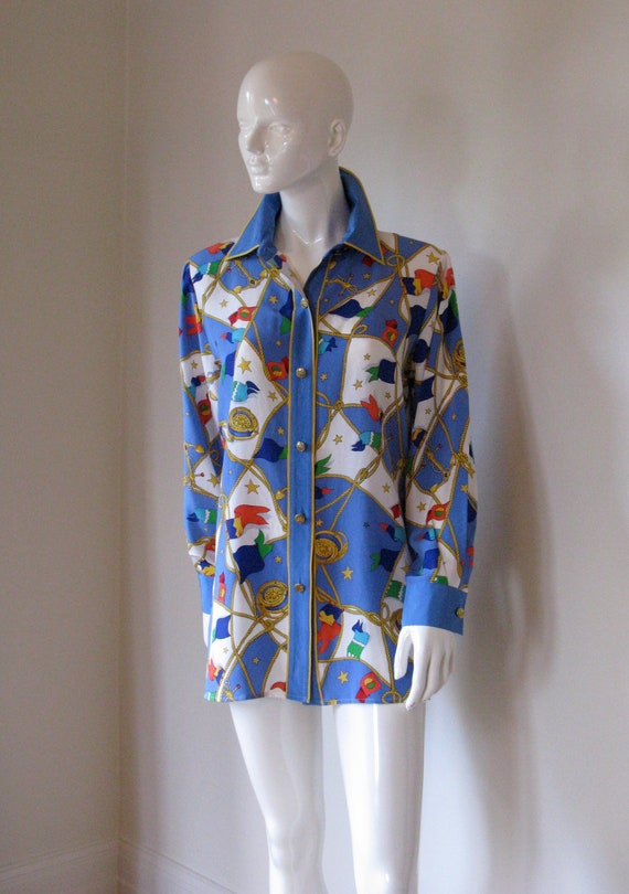 Vintage Bob Mackie Nautical Inspired Silk Button Front Blouse Tunic Bust 42