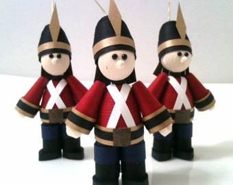 Toy Soldier Christmas Decoration Ornament Set of Three in Crimson Red with Black