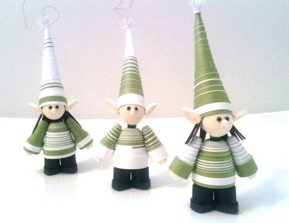 Christmas Elf Ornament Set of Three Paper Quilled in Sage Green and White Stripes
