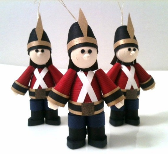 Toy Soldier Ornament set Quilled Paper