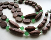Brown jasper necklace with green accents, stone necklace, zebra jasper, woodland fashion, earthy necklace, rustic jewelry