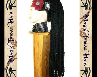 GOTH steampunk DREAD FALLS Goth Raven Dreadlocks 112 black dreads 24''/ 60 cm Fantasy extension Cosplay hair piece Gothic Lolita hair falls