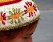 Hand Knit Joyful Topper, Sunny Flower Fez