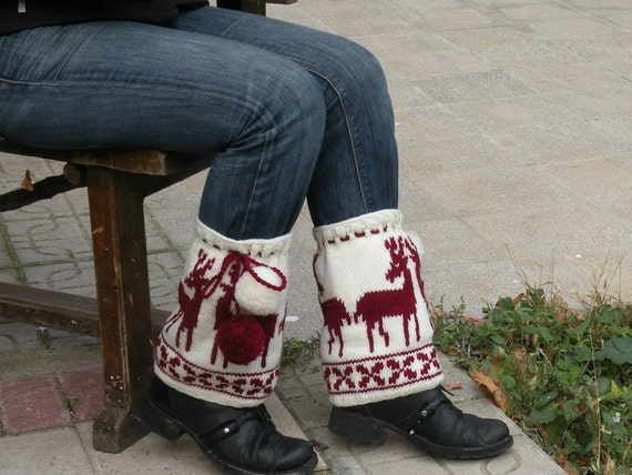 Hand Knitting Reindeer Boot Covers with White and Maroon Pom Poms