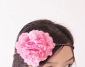 Fuchsia silk flower bridal hair wreath Boho