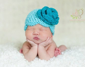 baby hat girls crochet scalloped beanie with large rose you pick any two colors newborn - 4T available