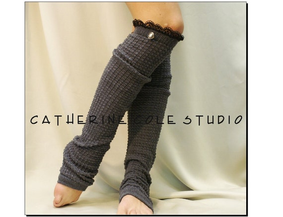 Lace Leg warmers knit legwarmers handmade womens dance yoga pilate ballet knit leg warmers  boots DANCE LOVE Grey Catherine Cole Studio LW23