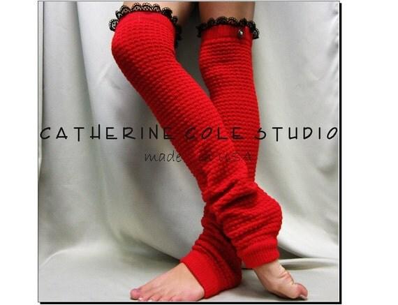 Lace Leg warmers knit legwarmers dance yoga pilates ballet leggings knit leg warmers popcorn knit DANCE LOVE Red Catherine Cole Studio LW23