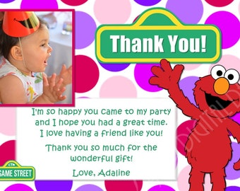 Pink Elmo Thank You Card Photo and Background Options Customizable Printable