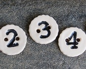 Ceramic Button - I Can Count Button- Numbered Buttons - Children's Buttons - Number 1,2,3,4,5,6,7,8,9  You choose the number(s)