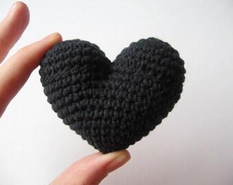 crochet heart black valentine's day love gift