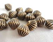 Beige African Style Bicone -11mm- Czech Fluted Glass Bead - 5 Pieces (B114)