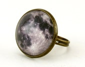 Full Moon Ring, Bronze Adjustable Ring, Handmade Art Jewelry