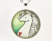 Unicorn Necklace, Heart And Unicorn Pendant, Fantasy Jewelry