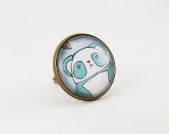 Kawaii Panda Ring, Cute Bear Jewelry, Blue And White