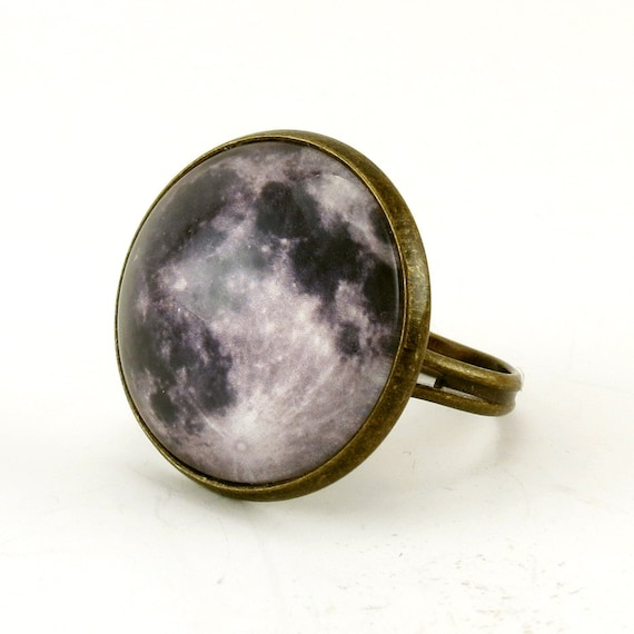 Full Moon Ring, Bronze Adjustable Ring, Handmade Art Jewelry