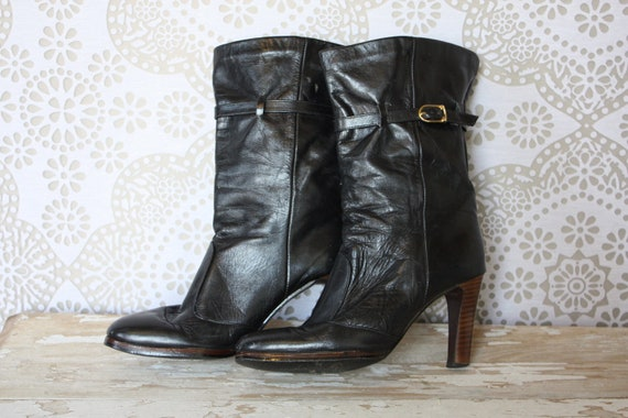 Vintage 1970's Joyce Black Leather Mid Calf Boots with Belt and Stacked Heel 6.5 N