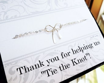 Silver or Gold Bow charm bracelets on Thank you cards, BRIDESMAID GIFT, Tie the Knot card and bracelet for bridesmaid