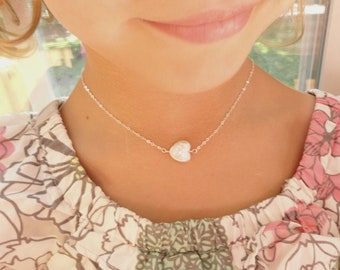 Freshwater pearl heart flower girl or Junior bridesmaid necklace, flower girl gift, childs necklace, Pearl necklace