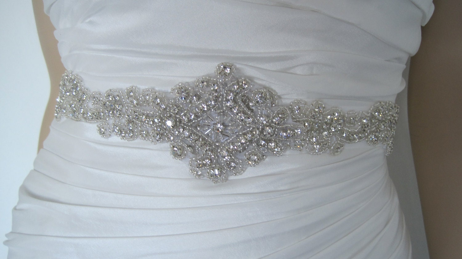 Crystal wedding dress belt sash belt rhinestone by bridalstar for Sparkly belt for wedding dress