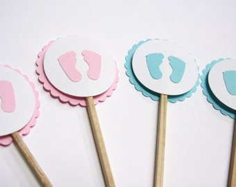 Baby Shower Cupcake Toppers - Little Baby Feet - Handmade  - Shower Decorations - Set of 12