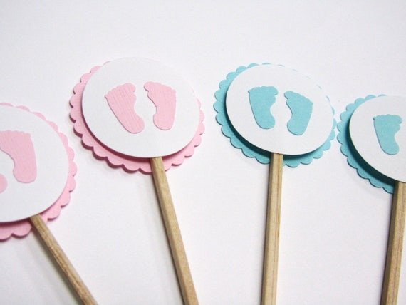 Baby shower cupcake toppers little baby feet handmade for Baby feet decoration