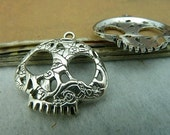 10pcs 27mm The Skeleton head  Silver White Color Charm For Jewelry Pendant C3166