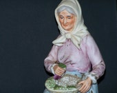 Vintage 1981 HOMCO 1433 Lady Holding Basket of Grapes Bisque Figurine