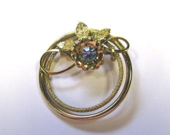 Vintage Aqua rhinestone Circular Wreath Brooch in Gold tone metal, Rhinestone Scarf Brooch