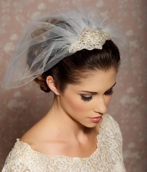 Wedding Hair Up With Veil: Rhinestone Veil Crystal Veil Wedding Veil Birdcage Veil