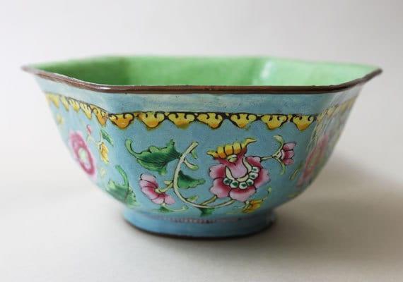 Intricately Embossed Vintage Ceramic Bowl