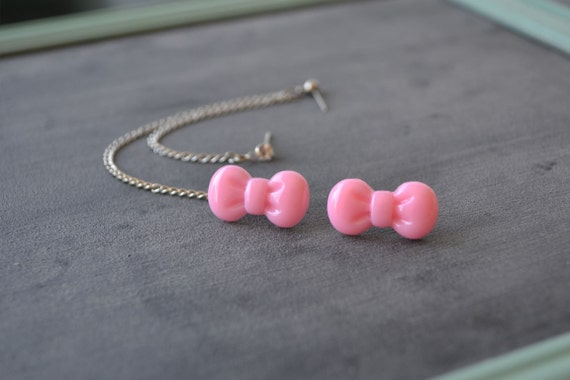 Pink Bowtie and Crystal Multiple Pierce Silver Cartilage Earrings (Pair)