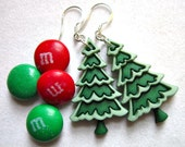 Christmas Tree Earrings, Green Christmas Trees  H 028