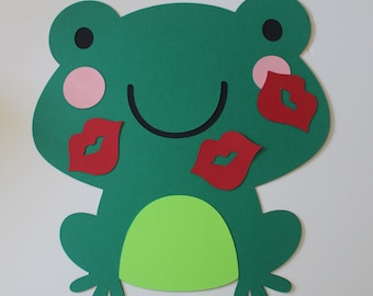 Birthday Party Game, Pin the Kiss  on the Frog, Frog Birthday, Princess and the Frog Decoration