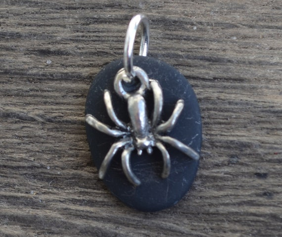 Beach Stone Necklace with Pewter Spider