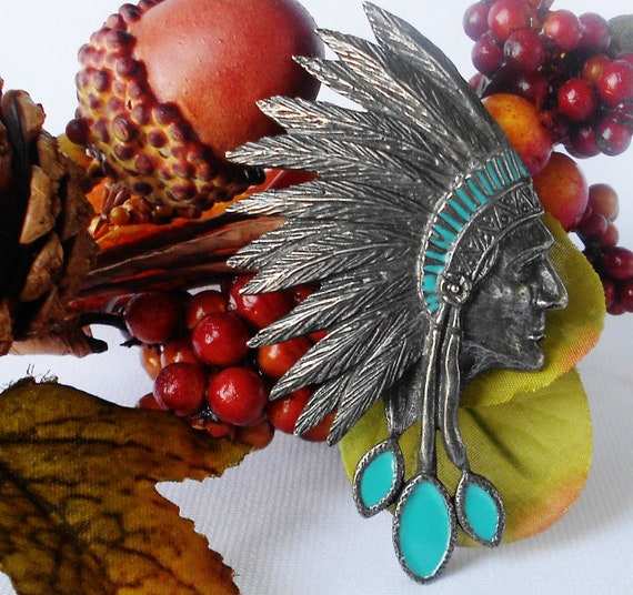 Indian Chief Brooch Feather Headdress Pewter Aqua